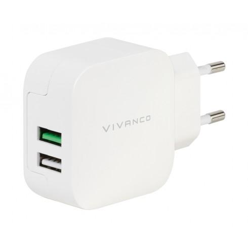 Vivanco  37563 Мрежово двойно зарядно устройство 2.4A със Smart IC