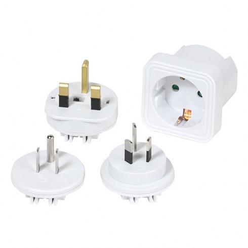 Vivanco 36218 Комплект преходници, 4 броя от Шуко към електрическите контакти в САЩ, Великобритания, Австралия, Китай