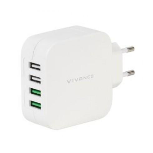 Vivanco 37564 Мрежово зарядно 4 - USB изхода 4.8A (1-2:1A 3-4: 2.4A)