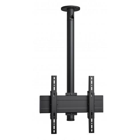 """Стойка за таван с въртене и наклон, за екрани до 65"""", до 40 кг, VESA 400x400, тръба 80 см, черно"""