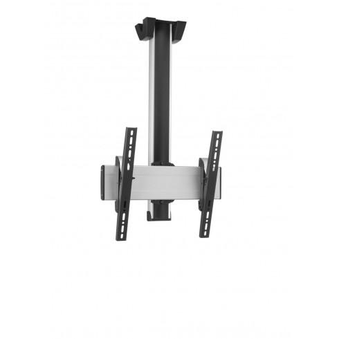 """Стойка за плосък таван за екрани до 65"""", до 80 кг, VESA 400x400, тръба 80 см, сребро"""