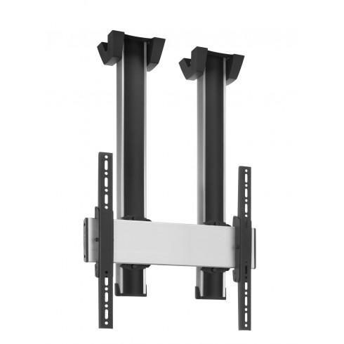 """Стойка за плосък таван за екрани над 65"""", до 160 кг, VESA 600x400, две тръби 150 см, сребро"""