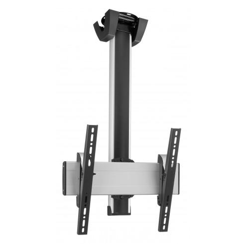 """Стойка за плосък таван с въртене 360° за екрани до 65"""", до 80 кг, VESA 400x400, тръба 80 см, сребро"""