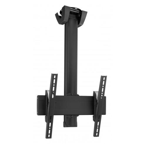 """Стойка за плосък таван с въртене 360° за екрани до 65"""", до 80 кг, VESA 400x400, тръба 150 см, черно"""