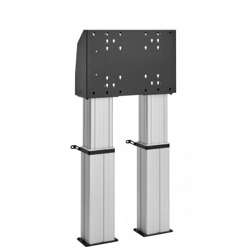 """Двойна електрическа стойка фиксирана към пода, за екрани 40""""-90"""", ход издигане 60см, VESA 600x400, до 200 кг"""
