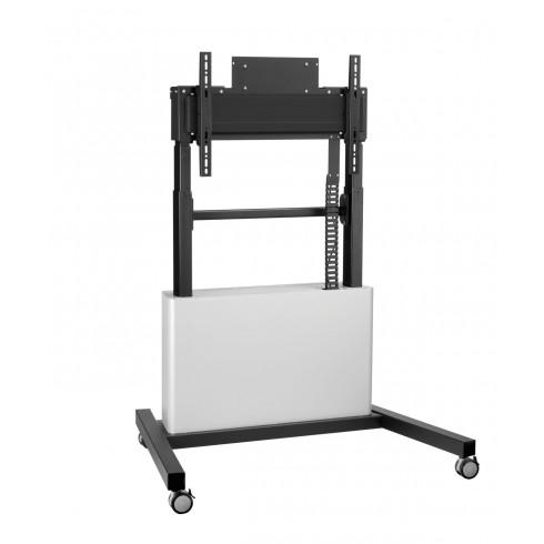 """Електрическа стойка на колела , за екрани 42""""-86"""", ход издигане 65см, VESA 600x400, до 160 кг, заключващо се отделение"""